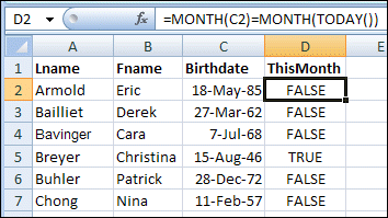 Highlight Current Month Birthdays in Excel