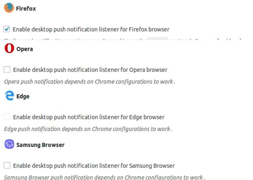 为每个可用的浏览器启用推送通知