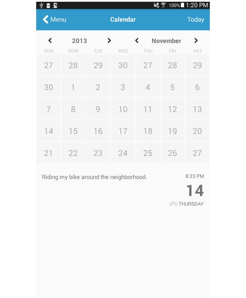 日历页面在日志中添加了样式