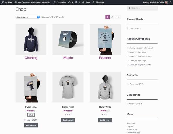 商店的主要页面类别是上述产品,并且在网格中样式一致