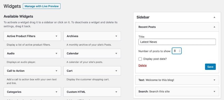 Recent Posts in Sidebar widget area