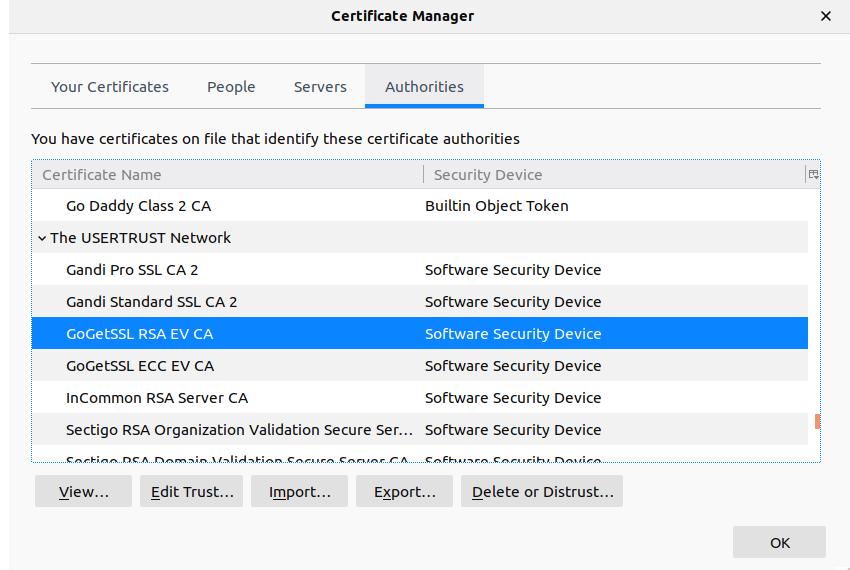 Mozilla Firefox的证书管理器
