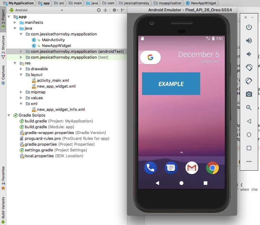 在Android虚拟设备上测试您的小部件