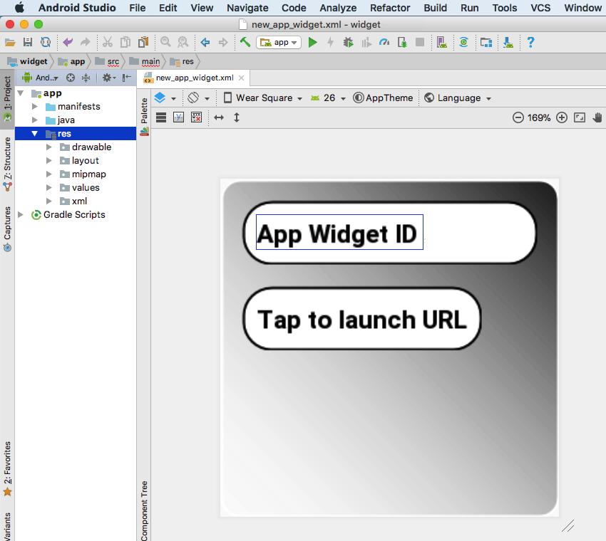 尝试使用Android Wear Square外观渲染小部件布局