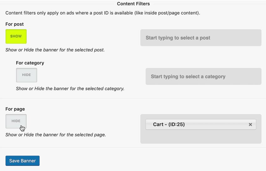 禁止您的广告来自已命名的WordPress帖子和页面