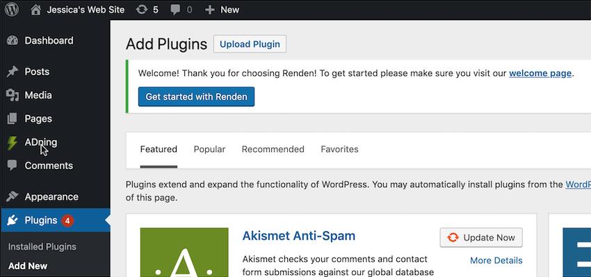 安装ADning WordPress插件