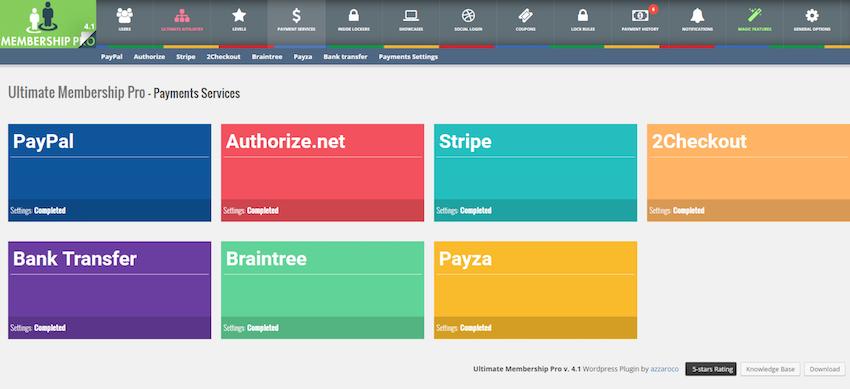 Ultimate Membership Pro支持所有主要的支付网关,包括PayPal Stripe和2Checkout