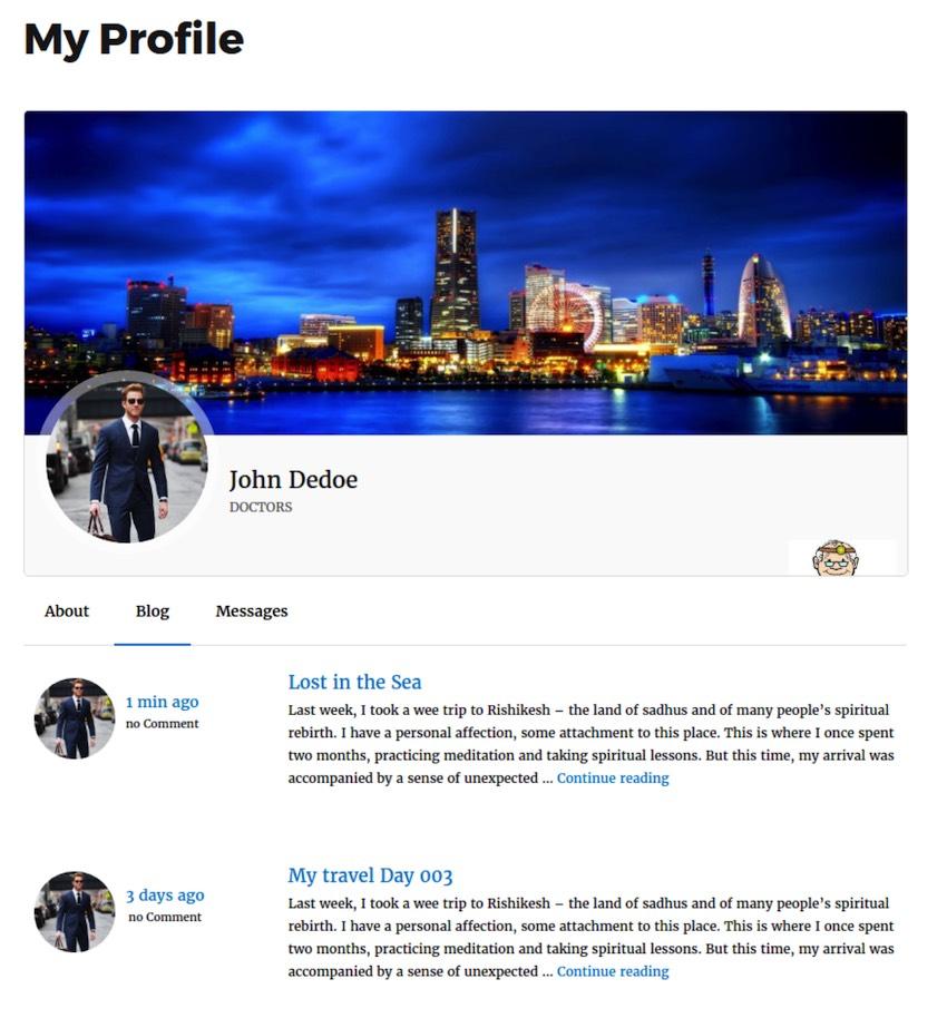 ProfileGrid支持用户提交的内容,包括访客博客