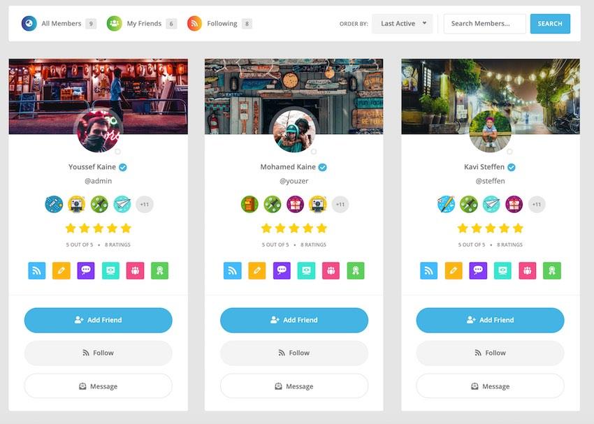 Youzer插件支持各种社交媒体风格的功能
