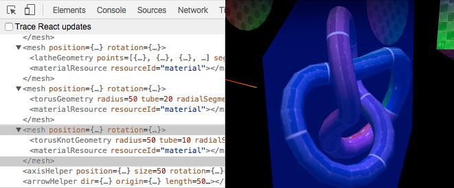 使用react-three-renderer和React devtools调试场景