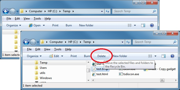 Delete button added to Win7 Explorer toolbar