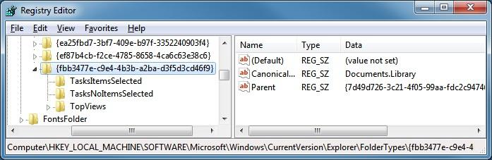 "RegEdit under ""FolderTypes"" in the HKLM hive"