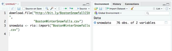 下载并导入积雪数据后的RStudio。