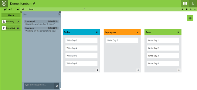 Shared kanban board with chat