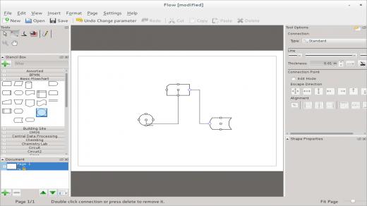 Calligra Flow diagramming tool in Fedora 20