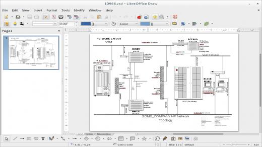 Screenshot of LibreOffice Draw opening up a Visio VSD diagram