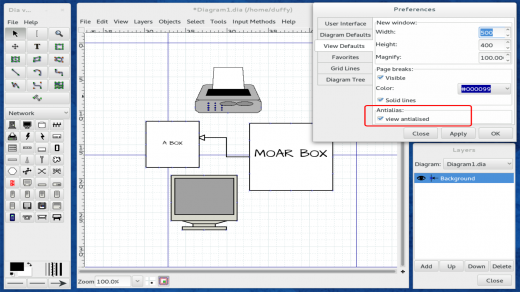 A screenshot of Fedora 20′s Dia