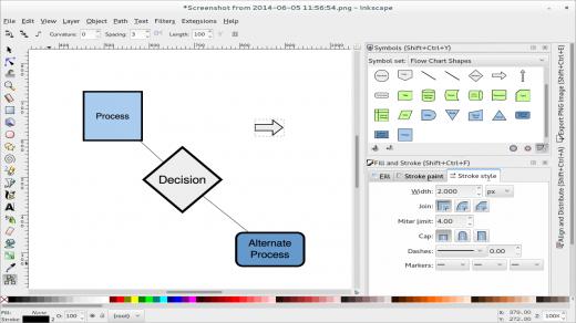 Screenshot of an Inkscape development version