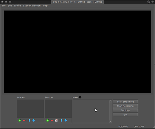 The OBS Studio user interface