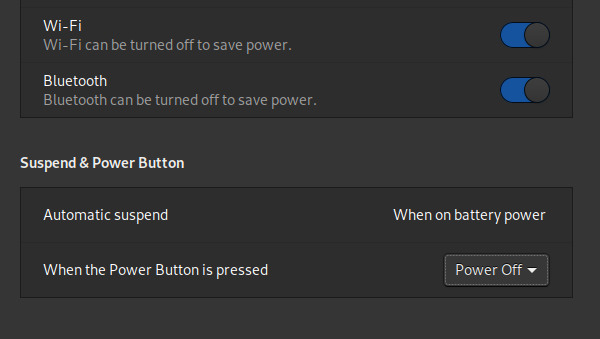GNOME's power button settings.