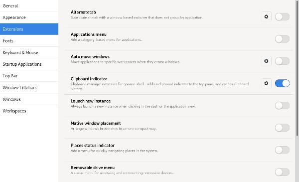 GNOME Tweaks clipboard