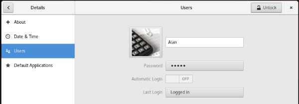 GNOME user settings