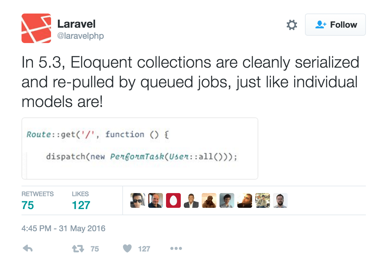 In 5.3, Eloquent collections are cleanly serialized and re-pulled by queued jobs