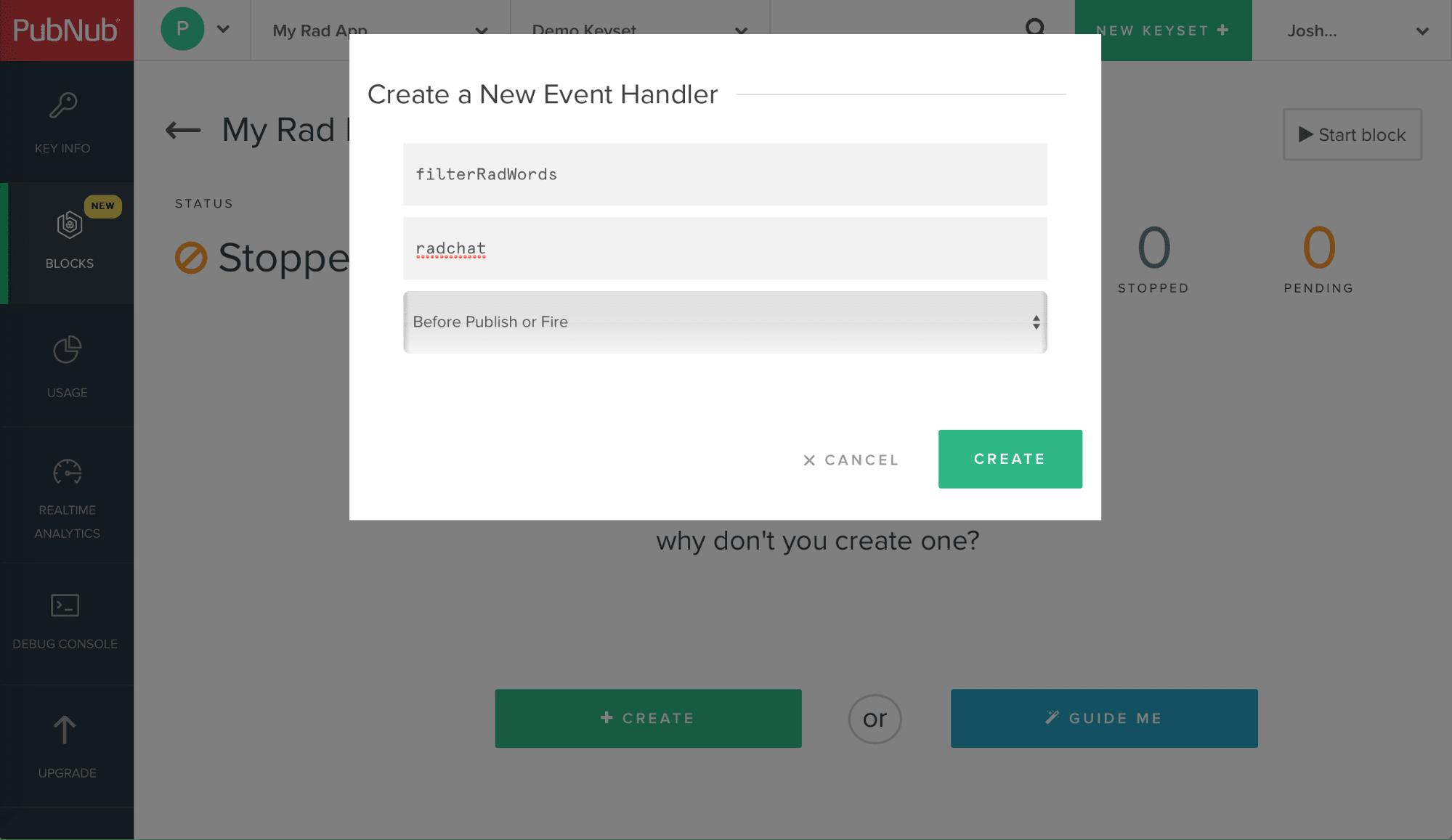 Create Event Handler