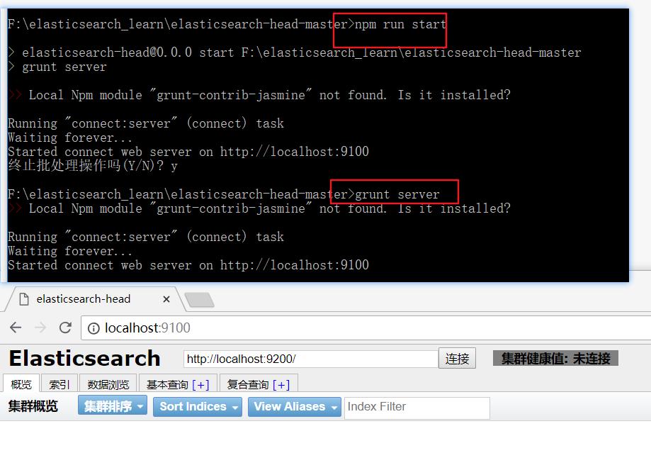 启动elasticsearch-head并验证