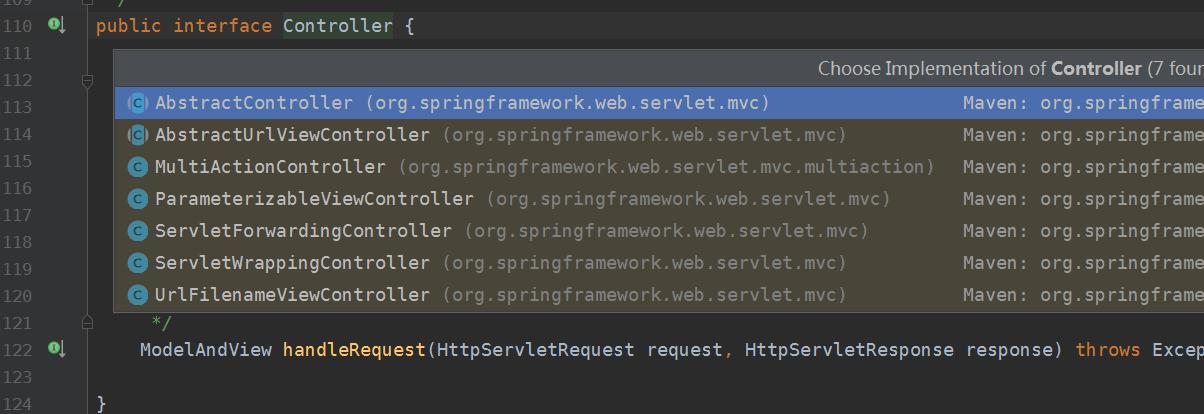 spring mvc Controller 提供的实现类