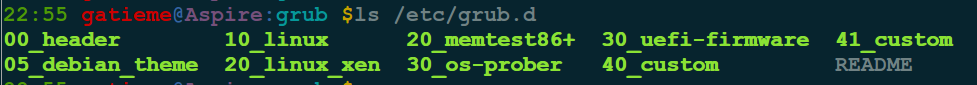 ls /etc/grub.d