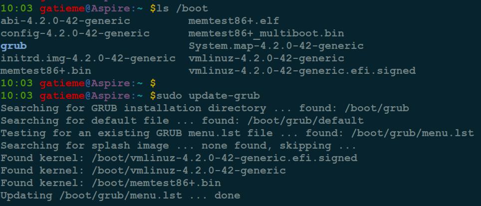 update-grub命令来更新