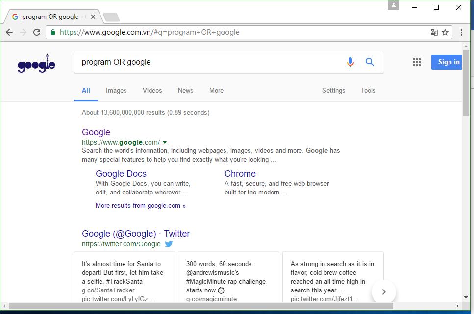 图2:输入program OR google的结果