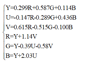 YUV换算公式