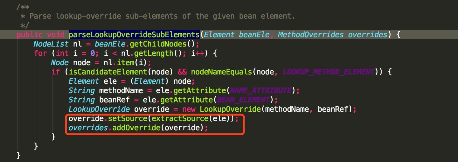parseLookupOverrideSubElements