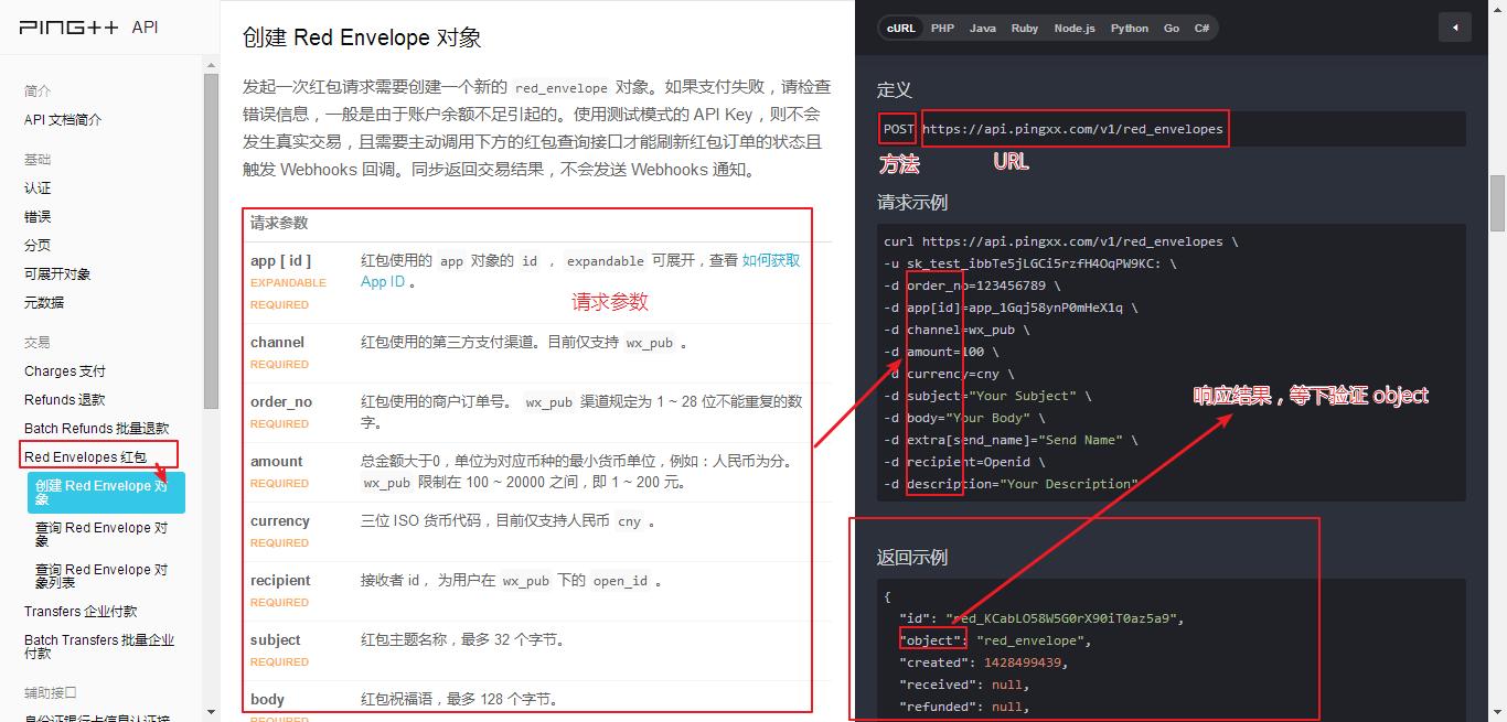 创建红包的Web接口描述