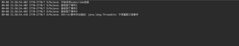 新的Observable发送Error 事件 = 原始Observable停止发送 & 不重新发送