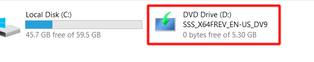 Windows Server 2016 Mount DVD