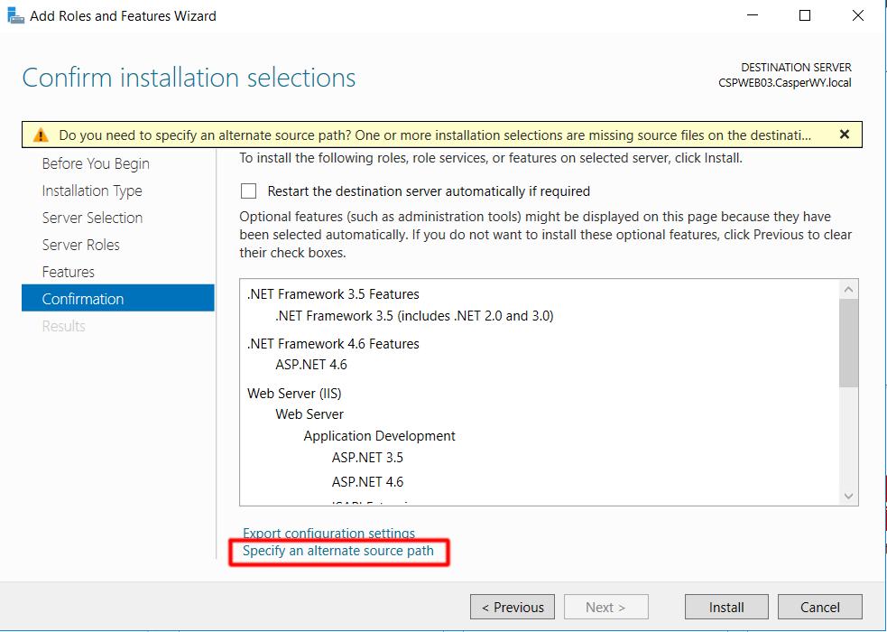 Windows Server 2016 Specify Alternate Path