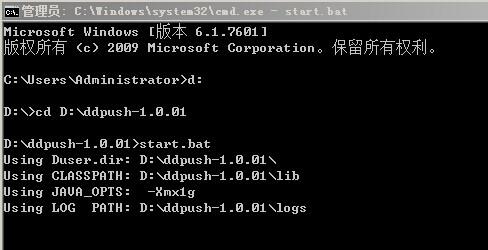 DDPush Server Windows Started