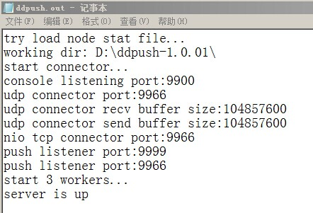 DDPush Server Started Log