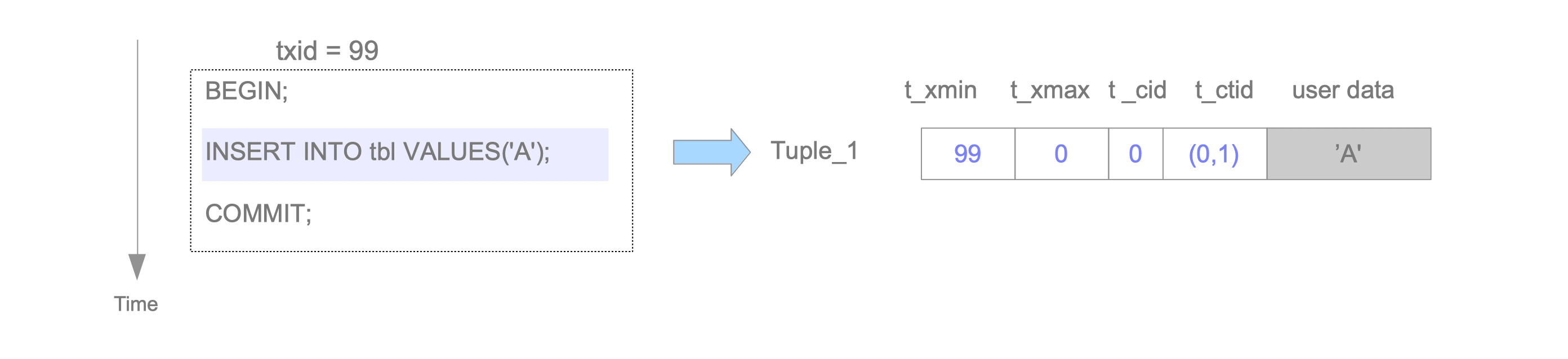 Fig. 5.4. Tuple insertion.
