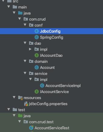 纯注解的IoC案例项目结构