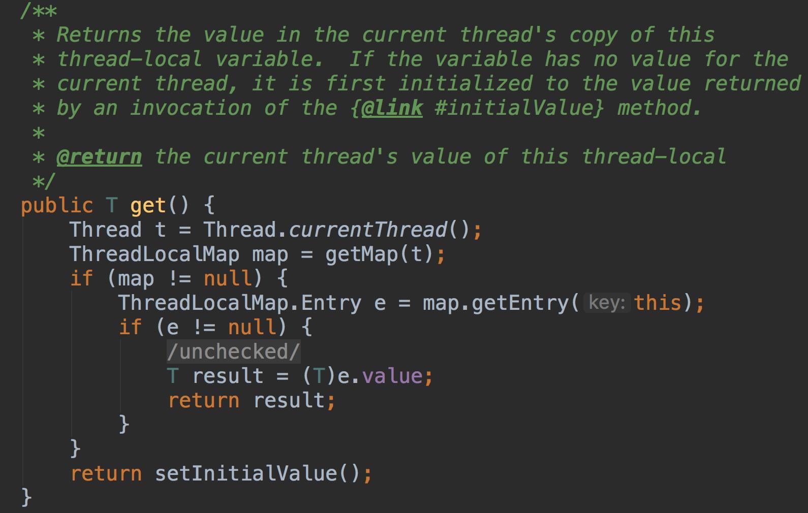 返回当前线程该线程局部变量副本中的值