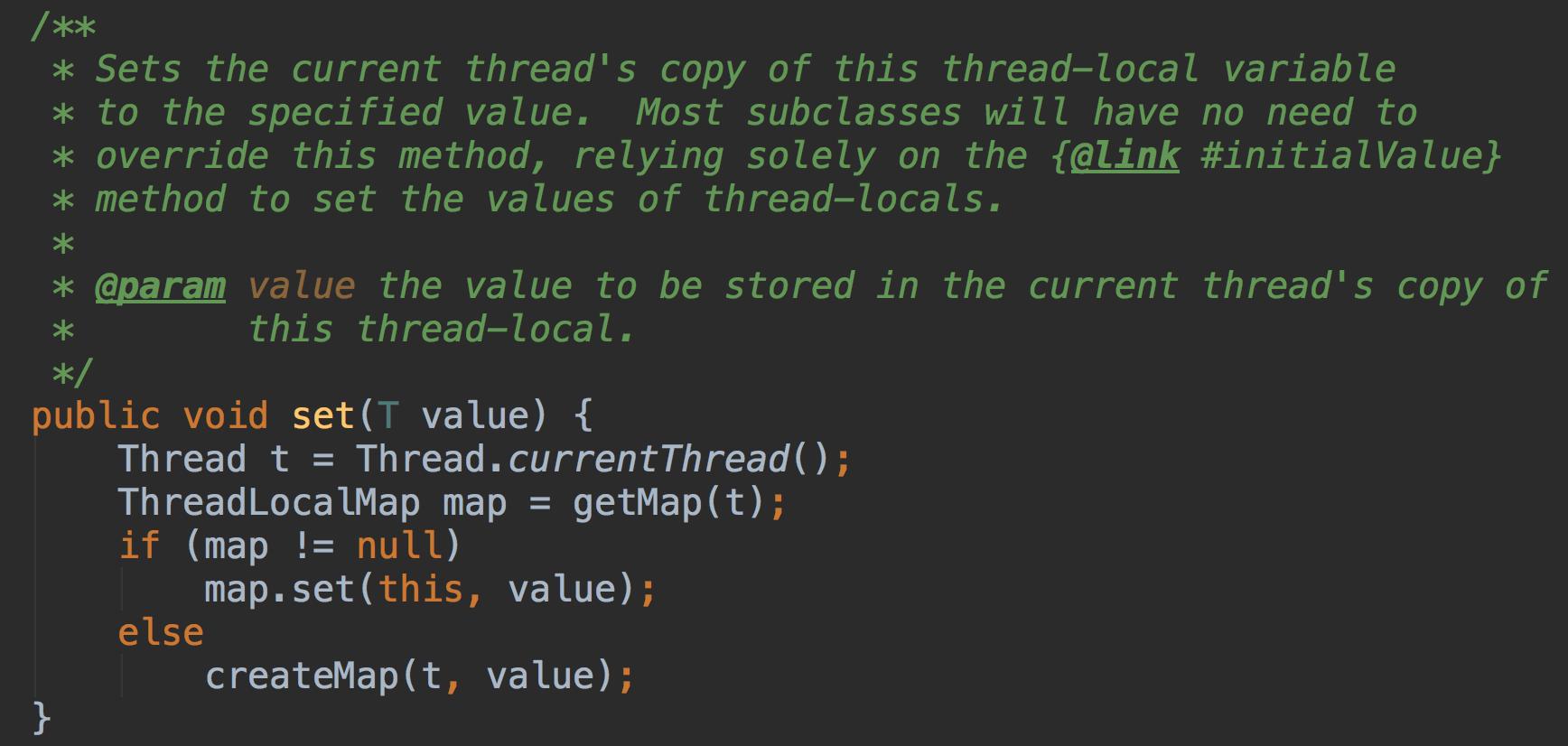 设置此线程局部变量的当前线程的副本到指定的值,大多数的子类都不需要重写此方法