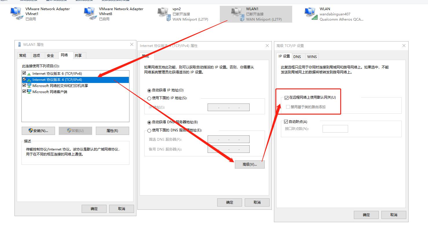 WLAN1的IPV4-->>在远程网关使用默认网关是勾选上的