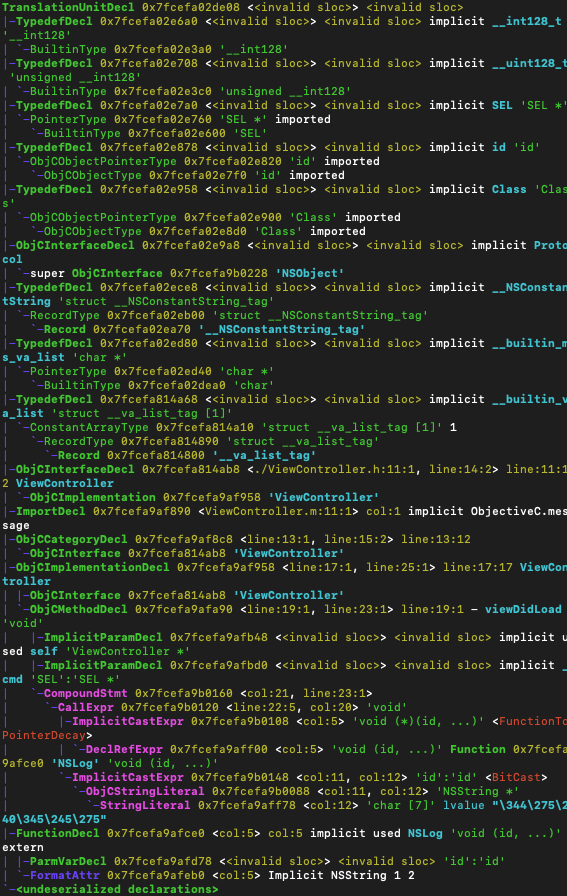 终端输出语法树