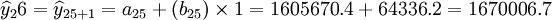 \widehat{y}_26=\widehat{y}_{25+1}=a_{25}+(b_{25})\times1=1605670.4+64336.2=1670006.7