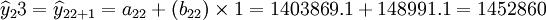 \widehat{y}_23=\widehat{y}_{22+1}=a_{22}+(b_{22})\times1=1403869.1+148991.1=1452860