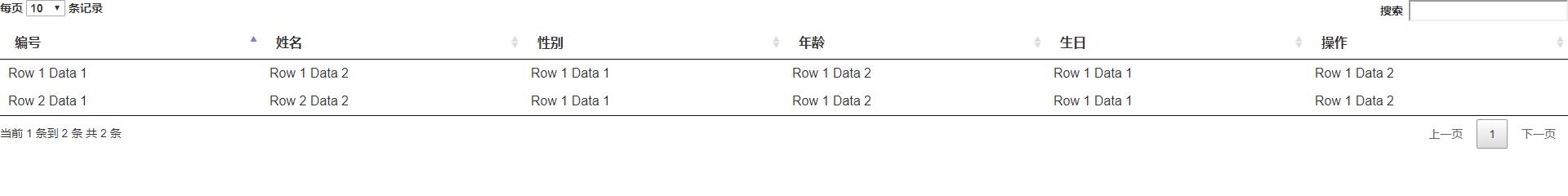 datatables的定制language效果图